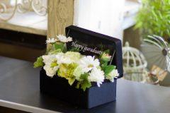 プリザーブドフラワーと造花のボックスフラワー