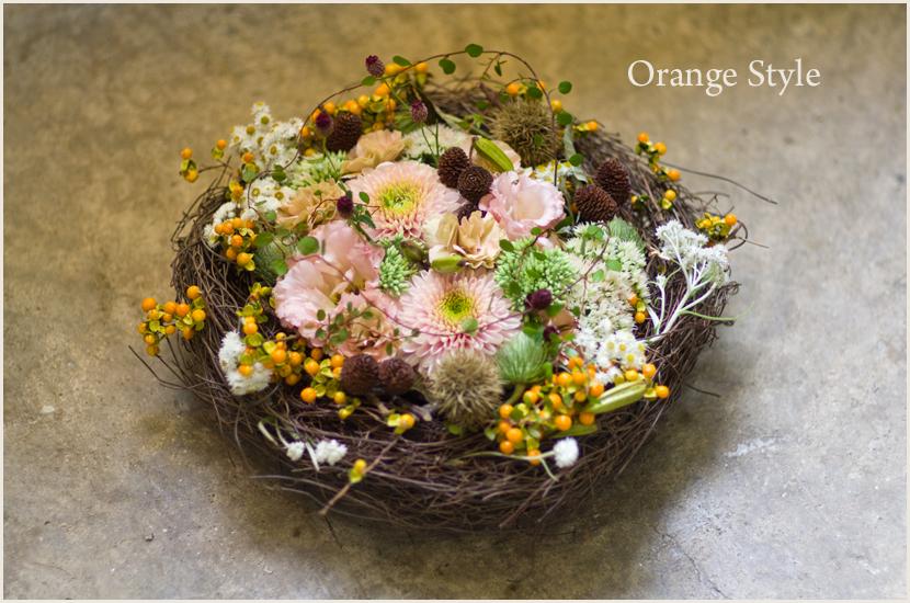 秋の実の物のフラワーアレンジ