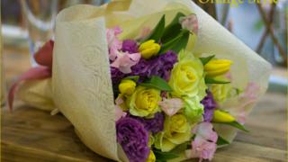 黄色と紫の花束